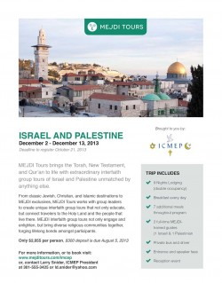 An example flyer for a MEJDI tour group.