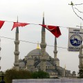 Flags outside of Sultan Ahmed Mosque.