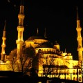 Sultan Ahmed Mosque lit up at night.