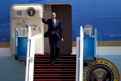 US President Barack Obama waves as he arrives at the Ben Gurion airport near Tel Aviv, Israel, Wednesday.