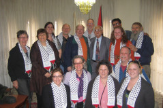 An American group meets with Victor Batarseh, mayor of Bethlehem.