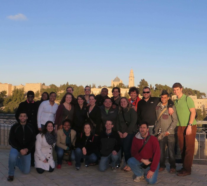 The group enjoying the view at Mount of Olives.