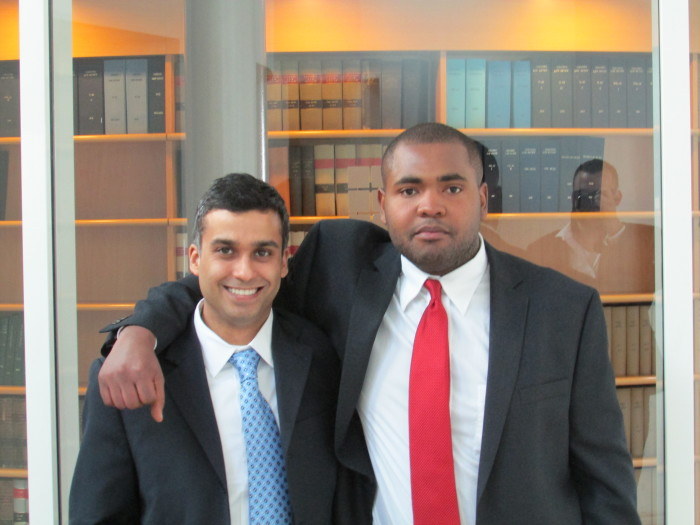 Jay Mukerji and Marc Jean-Baptiste in the Israel Supreme Court foyer.