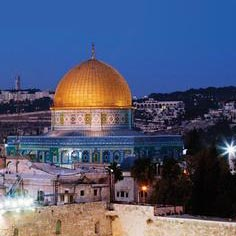 The Dome of the Rock seen at night.