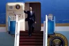 US President Barack Obama waves as he arrives at the Ben Gurion airport near Tel Aviv, Israel, Wednesday.