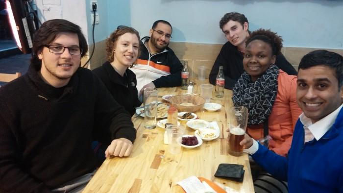 Enjoying dinner at Mahane Yehuda Market.