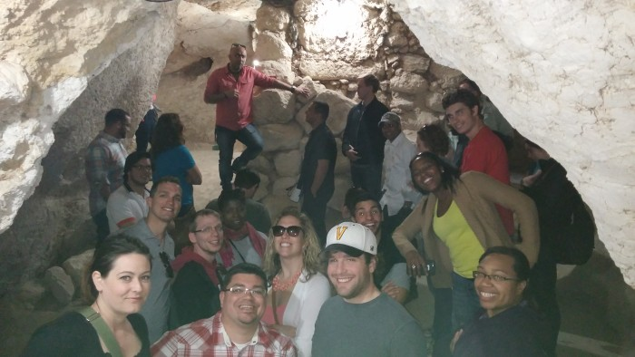 Checking out a cave that was previously used by Shepherds to hold cattle in Bethlehem.