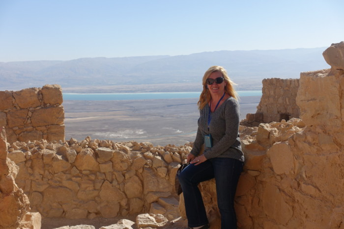 Masada Fortress with the Dead Sea in the background.