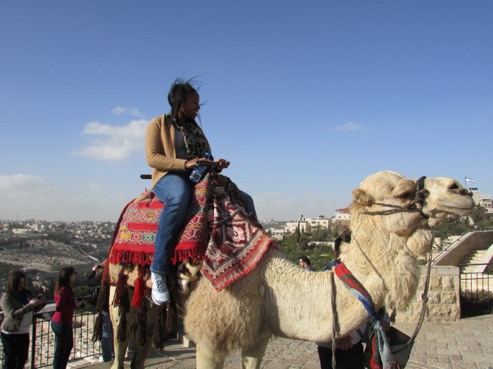 Shannon Kendrick on a camel at the Mount of Olives.