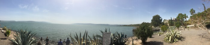 The group skipping rocks in the Sea of Galilee after learning about St. Peter and Capernaum.