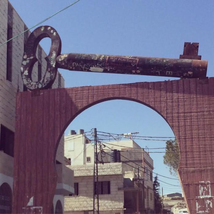The entrance into Aida, a Palestinian refugee camp.