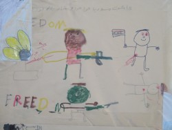Drawings: some have messages of support and hope, some depict what some of these kids have seen and experienced.