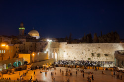 Western Wall and Dome of Rock at night